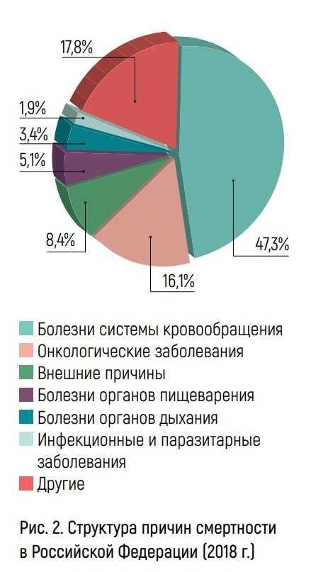 Структура причин смертности в РФ за 2018 год